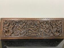 Antique Wooden Carved Architectural Salvage Asian Indian Wall Panel Art Plaque