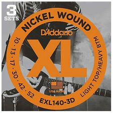 3 Sets of D'Addario EXL140 Nickel Wound Electric Guitar Strings (10-52) +Picks