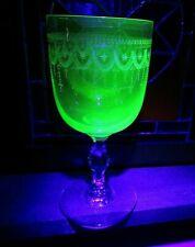 Vintage Uranium Green Wine Goblet Clear Stem Glass-Finely Drape Etched/Engraved