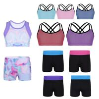 Kids Girls Stretchy Tanks Crop Tops Ballet Dance Jazz Gymnastics Shorts Bottoms