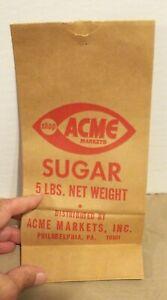VINTAGE ACME MARKETS 5 lb SUGAR BAG GROCERY STORE ACME MARKETS PHILADELPHIA, PA