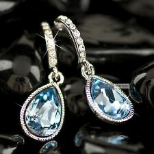 18k white gold gp made with blue SWAROVSKI crystal stud wedding party earrings