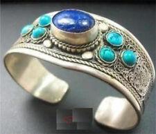 Wonderful Tibet Silver inlay Lapis Lazuli Turquoise Cuff Bracelet Qwa