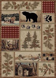 8X10 Lodge Cabin Area Rug Bear Paw Pinecone Pine Tree Duck Buck Deer Beige Brown