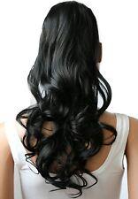 Extensions Cheveux Queue de Cheval Ondulé Résistant Chaleur 60cm  Couleur Noir