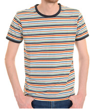 mens new 60's/70's vintage retro mod style striped navy trim ringer t shirt