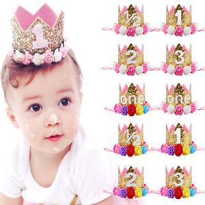 Princess Baby kids Girls 1st Birthday Party Flower Crown Hat Headband Hairband