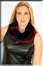 New Red and Black Infiniti Rabbit Fur Scarf Efurs4less