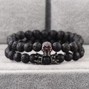 2PCS/set Black Lava Stone Pave CZ Skeleton Skull & Double Crown Charm Bracelets