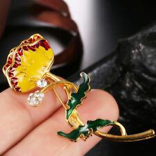 Enamel Crystal Flower Brooch Pin WomenScarf Suit Collar Lapel Pin Jewelry GiftJC
