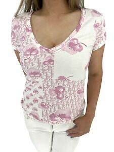 Auth Christian Dior Vintage Trotter Monogram Logo T-Shirt Tops #38 Pink RankAB