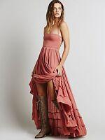 Vintage Hippie Boho halterneck Maxi Cocktail Party backless skirt summer dress
