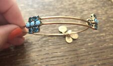 Rare Alex and Ani Gold Mix Color Blue Rhinestone Crystal Station Bangle Bracelet