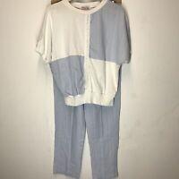 Women's American Spectator U.S.A. Made Cotton Blend Blue White Top Pants Set Med