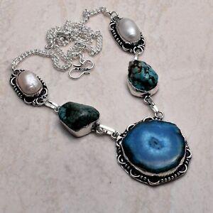 Solar Quartz Druzy Turquoise Ethnic Handmade Necklace Jewelry 42 Gms  AN 73108