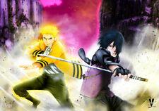 Naruto Uzumaki Sasuke Uchiha Silk Fabric Poster 20 X14 inch