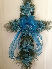 Synthetic Pine Cross Wreath With Blue Floral Trim