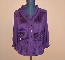 Violet & Claire Purple Satin Smocked Ruffled Button Front Top Size L