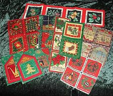 24 Small Christmas fabric panels for cardmaking, labels, Christmas sewing