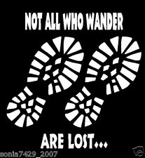 Not All Who Wander Are Lost Hiking Boot Car Vinyl Decal Sticker Cute