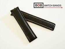 - BOB CARBON 22-20 mm ECHTLEDERUHRBAND Kompatibel nur mit Breitlingfaltschließe