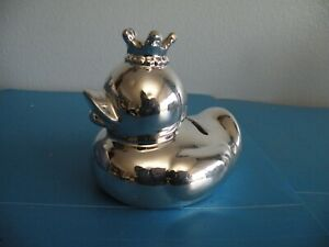 Duck wearing a crown silver Piggy Bank Fun V11