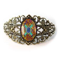 Celtic Stained Glass Knot Irish Design Antique Bronze Glass Cuff Bracelet