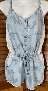 RUSTY Blue Chambray cotton Blend Crochet trim Jumpsuit Shortalls Shorts 12
