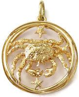 14k Yellow Gold Cancer Zodiac Horoscope Sign Charm Necklace Pendant ~ 6.8g