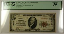 1929-1 Franklin National Bank of Wash DC $10 Note Charter 10504 PCGS VF30 RS