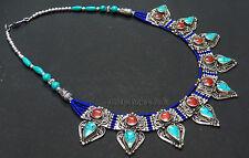 N113 Handmade ladies Fashion resin stones Tibetan Silver Necklace NEPAL Tibet