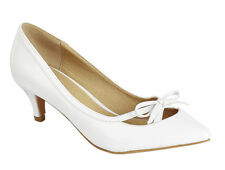 New Vegan Patent Leather Bow Pointy Toe Kitten Low Heel Pump Slide Shoes Sandal
