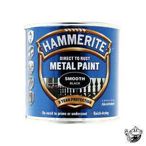 HAMMERITE SMOOTH BLACK DIRECT TO RUST METAL PAINT- 250ML