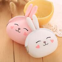 Women Girls Kawaii Cartoon Rabbit Silicone Jelly Coin Bag Purse Wallet Kid s