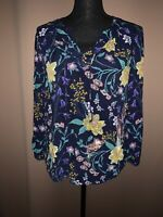 Old Navy Women's Navy Multicolor Floral Popover Blouse Size Medium