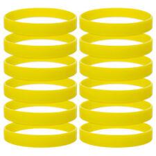 12x Lot Men Women Silicone Wristband 1/2 Inch Teen Rubber Bracelet Pack, Yellow