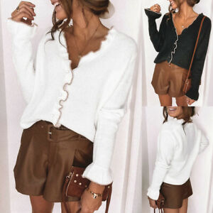 Ladies Womens Long Sleeve Tops Ruffled Frilled Buttoned V-neck Casual Tee Blouse