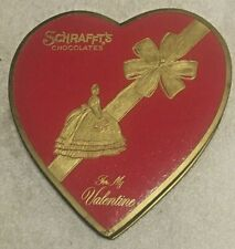 Vintage Cardboard Schrafft's Chocolate Candy Box Valentine  Day Red Heart 1960's