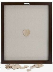 LOVING HEARTS GUEST BOOK, 22x18 FRAME, 160 WOODEN HEARTS