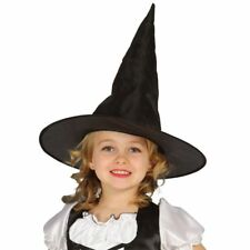 Child Size Black Satin Witch Wizard Hat Halloween Fancy Dress Costume Accessory