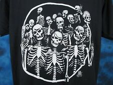 vintage 80s SKELETON GANG PAPER THIN T-Shirt MEDIUM/LARGE biker skull punk rock