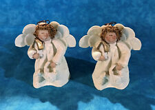2 Gail West Angels holding birdhouse & watering cans figurines