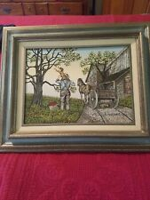 H. HARGROVE OIL PAINTING ON CANVAS *APPLE PICKING* ARTIST SIGNED (SERIGRAPH)