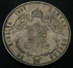 HUNGARY 1 Forint 1869 GYF - Silver - Franz Joseph I. - VF+ - 2004