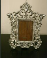 Vtg antique? Rococo Ornate Solid Cast Metal Photo Frame Silver Tone