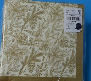 BLUEINK STUDIOS 40 Count Pine Toile Gold PAPER Luncheon Napkins
