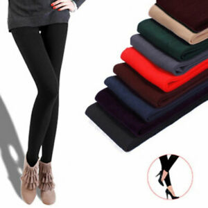 Women Thick Fleece Leggings Lined Thermal Stretchy Slim Skinny Pants Warm Solid