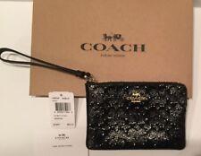 Authentic Coach Debossed Patent Leather Black Corner Zip Wristlet F58034 + Box