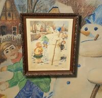 Spielende Kinder. Winterfreuden original Pastellgemälde Malerei signiert KORZ