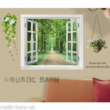 Window with Green Forest View & Plants Home Decoration Wall Sticker Art Decal UK